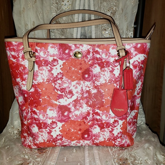 Coach Handbags - Coach Peyton Floral Print Leather and Canvas Tote